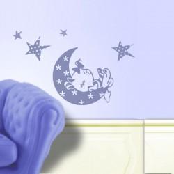 Vinilos bebe Niña luna Baby pijama