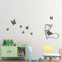 Vinilos niña Oh mariposas sobre nube