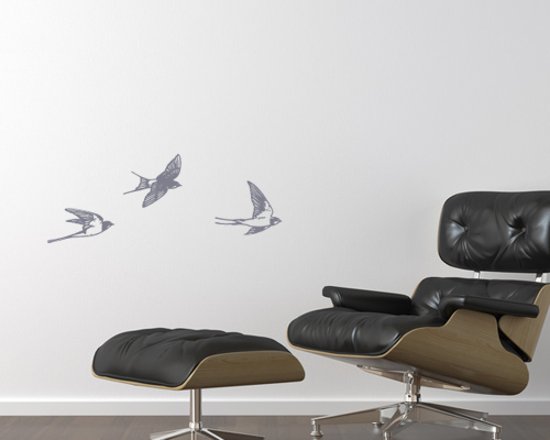 interior design of classic black leather armchair on white wall with copy space