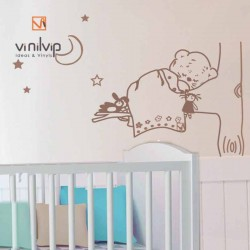 vinilo decorativo leopardo durmiendo en pared infantil marron