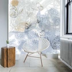Mural pared abstracto mariposas destellos salon casa
