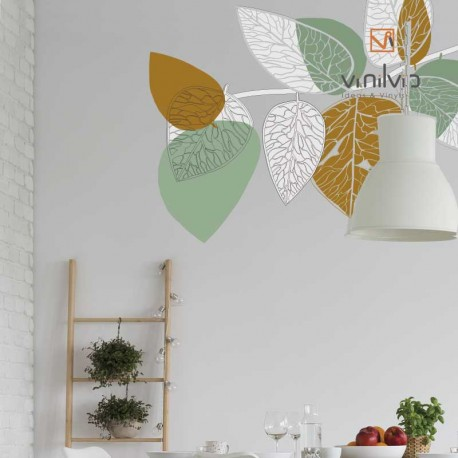Vinilo hojas pared abstracta