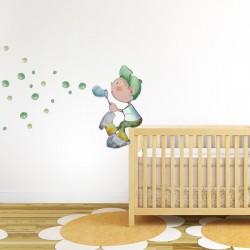 Vinilo niños Soplando burbujas