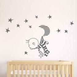 Vinilos bebe Baby Pijama en la luna