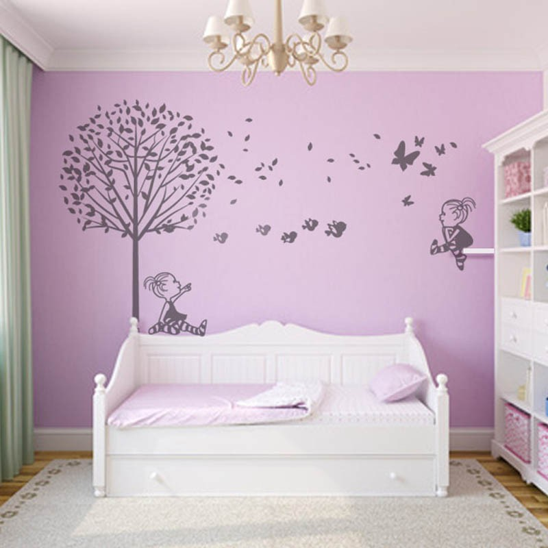 Vinilos infantiles ni as con mariposas for Vinilos para pared habitacion nina