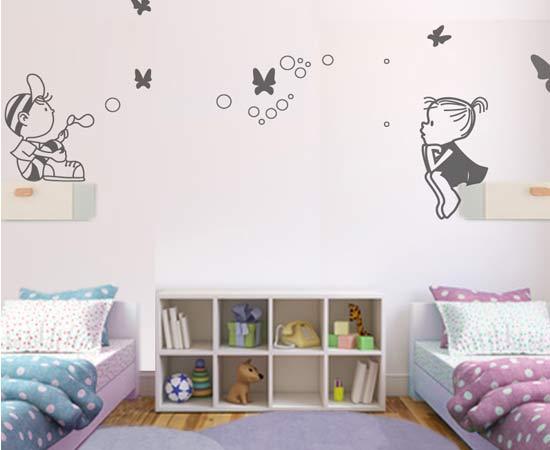 C mo decorar habitaciones compartidas vinilvip for Pegatinas habitacion nina