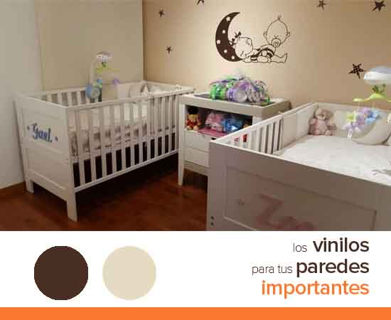 Decoraciones pared para hermanos vinilvip for Habitacion bebe con vinilos